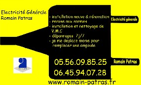 ELECTRICITE GENERALE ROMAIN PATRAS Saint Germain d'Esteuil