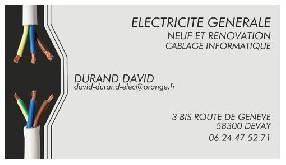 électricité générale durand david Devay