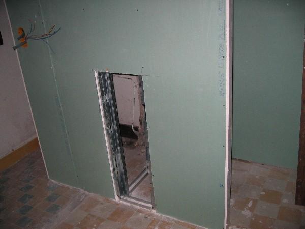 creation partie  commune  de salle  d, eau,  placoplatre ydrofuge  utilisée