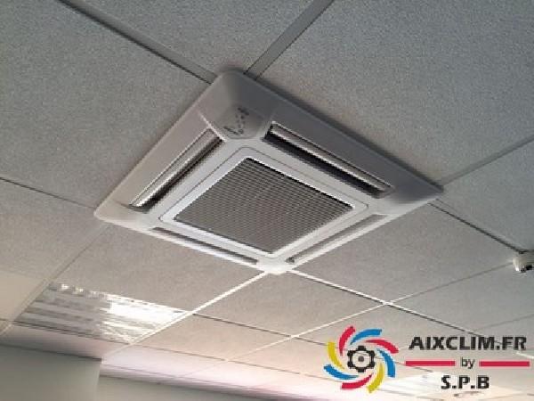 Installation d'une climatisation à cassette dans un Bureau à Aix la Duranne