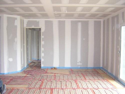 plancher chauffant &eacute;lectrique<br /> <br /> plafond,doublage,cloison en placo sur ossature metallique<br /> joint de finition