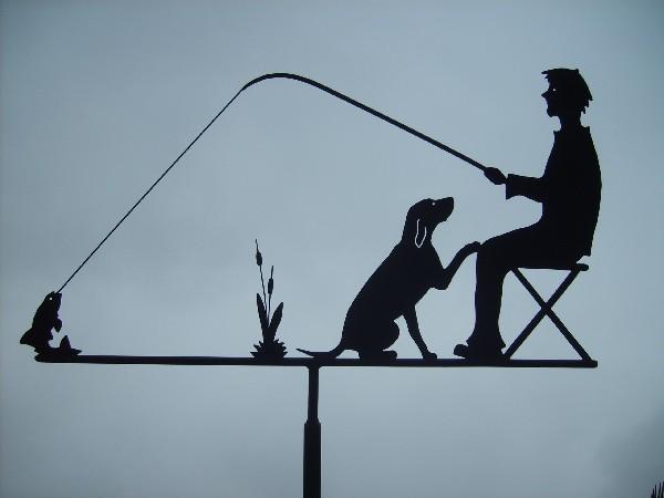 Girouette; Le pêcheur et son chien