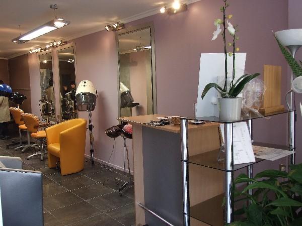 Peinture salon de coiffure, murs couleur violine, bandes argent.