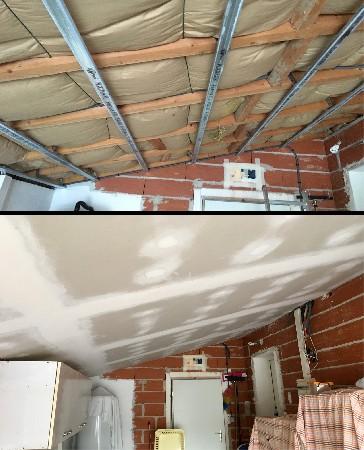 Pose d'un faux plafond avec isolation