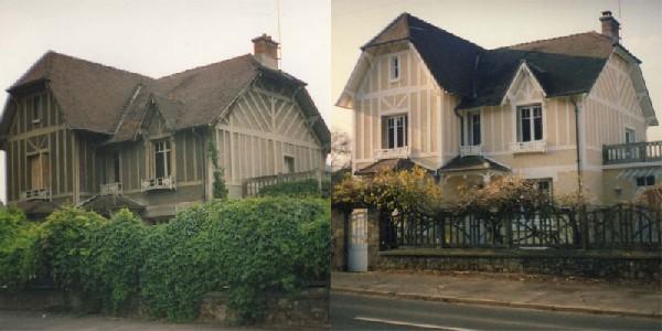 Avant et après du ravalement d'une maison en peinture pliolite.