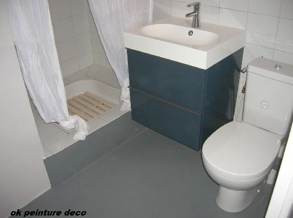 pose de meuble avec son &eacute;vier , pose de wc <br /> et pose de peinture sol grise